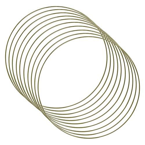 THETHO 10 Pezzi Anelli in Metallo da 25cm Anello Acchiappasogni Anelli a Cerchio in Metallo per Acchiappasogni, Ghirlande Nuziali e Decorazioni da Parete in macramè (Oro)