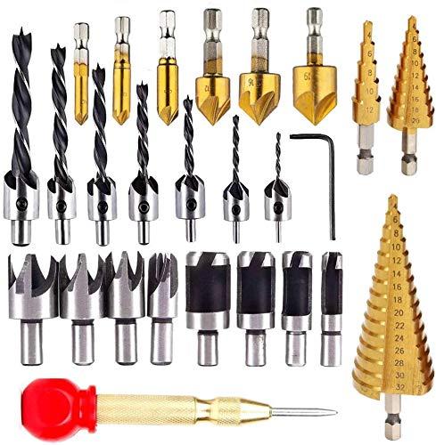 KAHEIGN 26Pcs Countersink Drill Bit Set, 8Pcs Wood Plug Cutter Drill Bits, 7Pcs Three Pointed Drill Bit, 6Pcs Countersink Drill Bit, 3Pcs Step Cone Drill Bit - for Door Window Cabine Drilling Holes