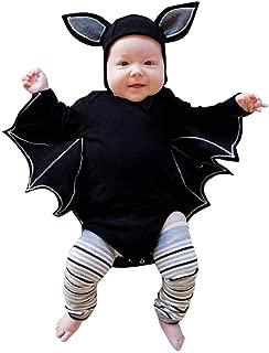 H.eternal Infant Bat Costume Sets, 2PC Newborn Halloween Baby Boys Girls Cute Set Ropmer+Hat Long Sleeve Bodysuit Jumpsuit Cotton Clothes