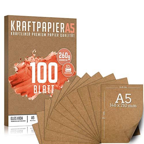 Premium Papel de Estraza DIN A5 de 260 g – 14,8 x 21 cm - Papel de manualidades, cartón natural, hojas de cartón, papel de cartón vintage para boda, regalos y etiquetas (100 hojas)