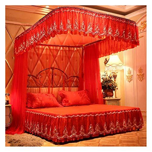 ZWWZ Tabla de Red roja de Cama - Decoración Retro con Cuentas - Cortinas de Cama de Encaje Bordadas exquisitas con Faldas de Cama para Boda, Navidad (tamaño: para Cama de 1.8m / 6 pies) MISU