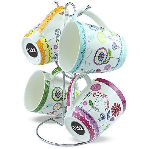 matches21 Tassen Becher Kaffeetassen bunte Blumen orange grün violett blau Porzellan 4er 10 cm 400 ml - mit Tassenhalter