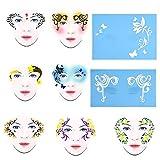 Plantilla Cara Maquillaje - 7styles / Set Pintura Reutilizable Frente A Plantilla Pintura Cuerpo Facial Diseño Plantilla Flor Mariposa