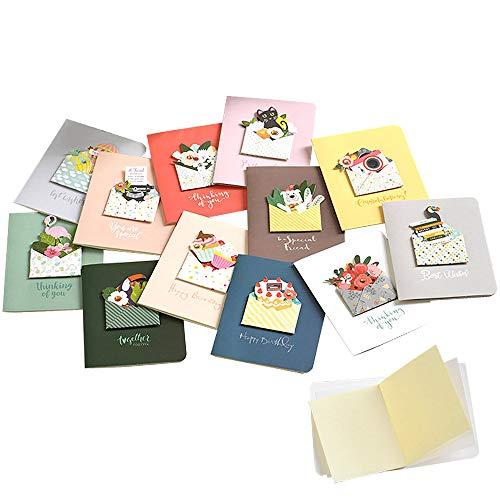 moin moin メッセージ カード 手紙 と お花 と アニマル カラフル | ミニ 小さめ フラワー 飛び出す 3D | ビーズ ラインストーン | カード + 中紙 + 封筒 12種セット (犬/鳥/バースデーケーキ/黒猫/ブーケ/気球/カメラ/ロ