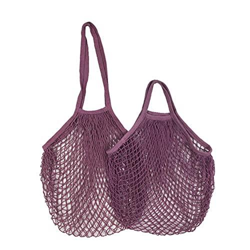 Bolsas reutilizables de 20 colores Bolsa de red portátil Almacenamiento de frutas y verduras - Bolsa de malla plegable de algodón amigable para -S-10x35x38cm, rple Pink 12