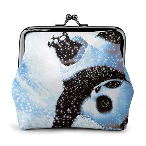 Monedero Bebé Panda Nieve PU Cuero Exquisita Hebilla Monederos Monedero Vintage Clásico Beso-Cerradura Cambio Monedero Carteras Regalo
