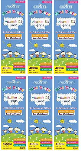 Natures Aid Vitamin D3 Drops, Bone Health, Immune Health, Infants and Children, Sugar Free, 50 ml (Pack of 6)