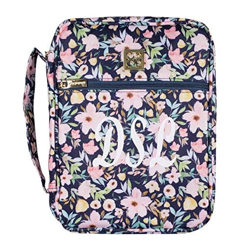 "Mary Square 10.5""X8""X2.5"" Personalized Hampstead Floral Bible Cover with Pockets for Women and Girls"