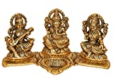 Best In Class,Superior In Crafting & IDEALLY SIZED Measures: Length - 20 CM; Width - 10 CM; Height - 9 CM, Weight- 340 grams,This item can be considered as Diya/Deepak as well as Idol/Statue hence Multi Purposes Laxmi Ganesh Saraswati Idol Showpiece ...