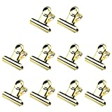 Quluxe 10 Pcs Colored Bulldog Paper Clips, 1.5 Inch Metal Mini Binder Clips Money Clamps for Tags Bags, Shops, Office and Home Kitchen- Gold