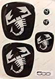 Logo Fiat 500 Abarth anteriore, posteriore + volante + 2 stemmi per portachiavi. Per cofano e baule. Adesivi resinati, effetto 3D. Fregi Scorpione, colore bianco nero