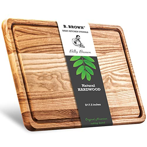 B.Brown LARGE Wood Cutting Board With Juice Groove For Kitchen 17.5x11.5 inches From Natural HARDWOOD For Use As: Butcher Block Chopping Block Chess Vegetables Carving Board Serving Tray Wood Tray
