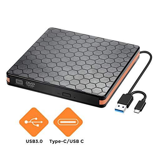 Externes DVD CD Laufwerk, Externes CD  Brenner für Brenner mit USB 3.0 und Typ C Schnittstelle, optische Hochgeschwindigkeits Datenübertragung für optische Laufwerke für Win10 / XP/Win 7 / Win 8
