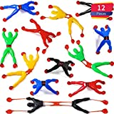 Blulu 12 Pieces Window Crawler Men, Multicolored Sticky Wall Climbers Rolling Men Novelty Stretchy Sticky Toys for Party Favor (12 Pieces)
