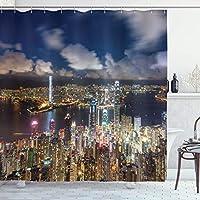 Bigleader都市景観シャワーカーテン、夜景香港ビクトリアハーバービジネス金融地区都市景観印刷浴室 防水 防カビ加工 洗面所 間仕切り 目隠し用 取付簡単