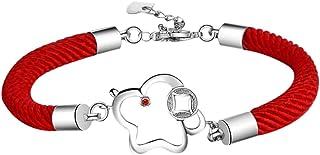 Ruikey Pulsera Trenzada Cuerda roja Pulsera del Diseño Creativo para Regalo de cumpleaños