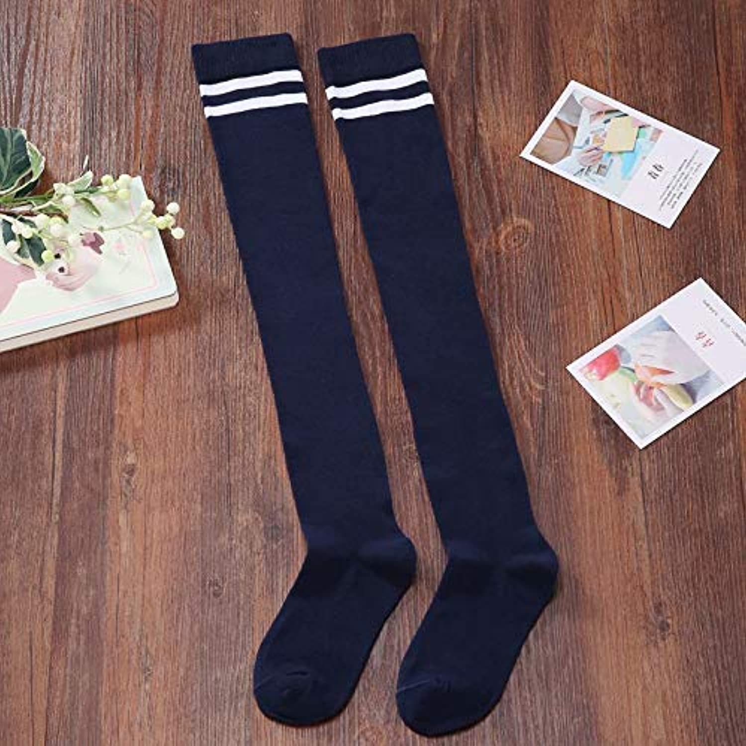 Winter Women Girls Sports Riding Two Bars Striped Stockings Over The Knee Female Combed Cotton high Socks Student Uniforms Socks Spring and Autumn (color   Navy bluee) Leg Warmers