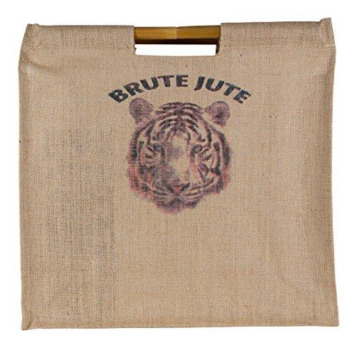 Brute Jute umweltfreundlichem Bambus Griff Lebensmittels Tasche, plastik, tiger, xl