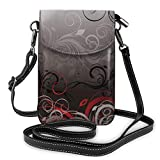 Small Crossbody Cell Phone Purse Wallet with Credit Card Slots Adjustable Shoulder Strap Red and Black Mystic Magical Forest Inspired Floral Swirls Leaves Crossbody Bags Handbags for Women