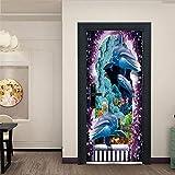 KGKBH Wandtattoo 3D Ozean, Tiere, Delfine 95x215cm PVC Wasserdicht Ölfest Tapete Fototapete für Tür Wohnzimmer Schlafzimmer Küche & Bad Hausdekoration Weihnachtsdekoration