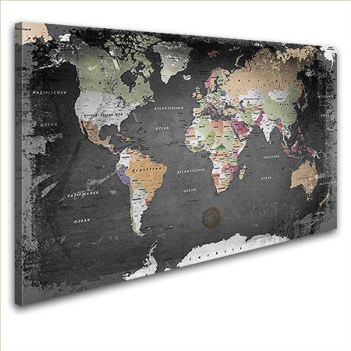 """LANA KK - Leinwandbild \""""Weltkarte Graphit\"""" Weltkarte - deutsch - Kunstdruck-Pinnwand auf Echtholz-Keilrahmen – Globus in  schwarz-weiß, einteilig  & fertig gerahmt in  100 x 70 cm"""