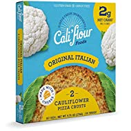 Cali'flour Foods Pizza Crust (Original Italian, 2 Crusts) - Fresh Cauliflower Base | Low Carb, High Protein, Gluten and Grain Free | Keto Friendly