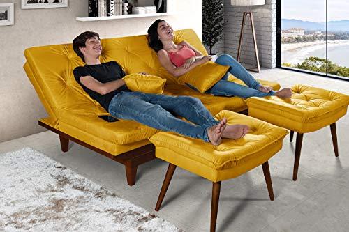 Sofa Cama Reclinavel Caribe Com Duas Banquetas Rubi Amarelo