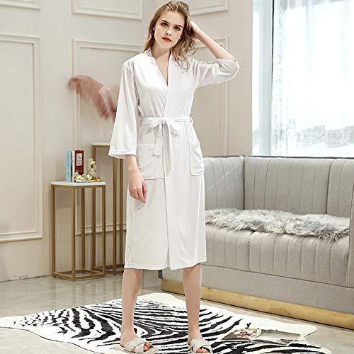 YRTHOR Amantes Toalla Elegante Bata Hombres Mujeres Kimono Terry Albornoz Ropa de Dormir Masculina Bata para Hombre Badjas Batas de Dama de Honor de Boda,Mujer Blanca,XL