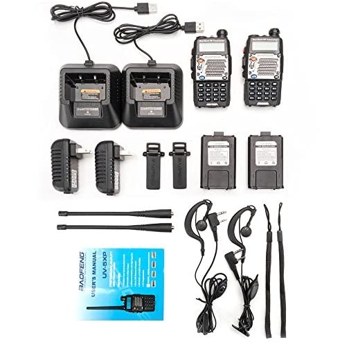 BaoFeng UV-5R Upgrade Version UV-5XP Extended Battery VHF UHF Two Way Radio 7.4v 8W Dual-Band Walkie Talkie 2 Pack 4