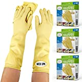 Long Biodegradable Latex Rubber Gloves for Dishwashing - Medium - 3PK — Long and Thick All Purpose...