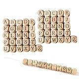 otutun Buchstabenwürfel, 52pcs Holzbuchstaben Perlen Holzperlen 12mm Still Halskette Holz Perle Buchstaben Fördert Kreativität und Lehrt Das Buchstabieren Zahnen Perlen zum Basteln für Handwer
