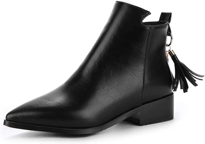GIY Women's Pointed Toe Chelsea Ankle Boots Fashion Tassel Low Heel Zipper Western Fringe Short Booties