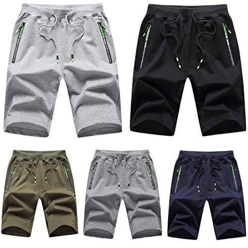 Kurze Hosen Herren Shorts Sommer Baumwolle mit Reissverschluss Taschen, Plain Arbeitsshorts Lässige Shorts mit Einstellbarer Kordelzug, Sport Shorts Baumwolle Mit Reißverschluss und Elastische Taille