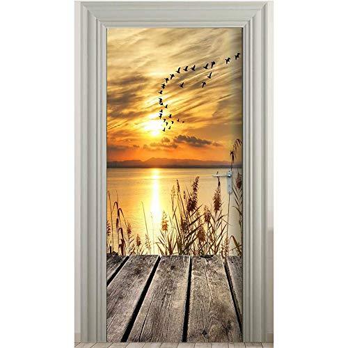 MLDFS Graz Design - Adesivo per porta 3D, motivo: tramonto all'alba, in PVC, impermeabile, rimovibile, per camera da letto, soggiorno (95 x 215 cm)