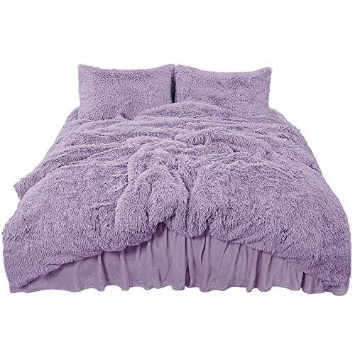 PiccoCasa Fluffy Duvet Cover Sets, Faux Fur Bedding Set, Plush Shaggy Quilt Cover, Zipper Close and Ties, 4 Pieces 1 Duvet Cover (No Duvet) + 1 Bed Skirt + 2 Pillowcases Queen Lavender