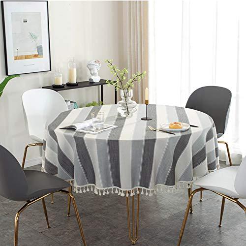 Mantel Nórdico Simple De Color Sólido Borla De Algodón Y Lino Mesa Redonda De Encaje Estera Gris Azul Color Café Mantel Grande Simple Y Versátil