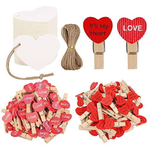 HAKOTOM 100pcs Mini Pinzas Corazón, Clips de Fotos Madera, Mini Pinzas Madera, Rosa Rojo con Cuerda Fotos Colgar y Etiquetas de Corazón Blanca para Día Valentín Fiestas Boda Pedir la Mano.