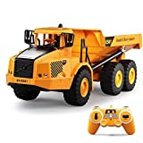 W&HH RC Dump Truck Toy,Full Functional Remote Control Construction Vehicle Dump Truck Toy with Lights & Sounds for Kids