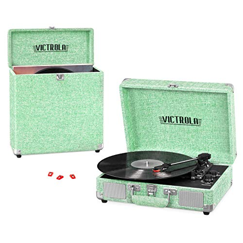 Victrola Vintage 3-Speed Portable Suitcase Record Player with Built-in Speakers & Carrying Case (Stores 30+ Records), Upgraded Turntable Audio Sound, Includes Extra Stylus – Light Mint Green Linen