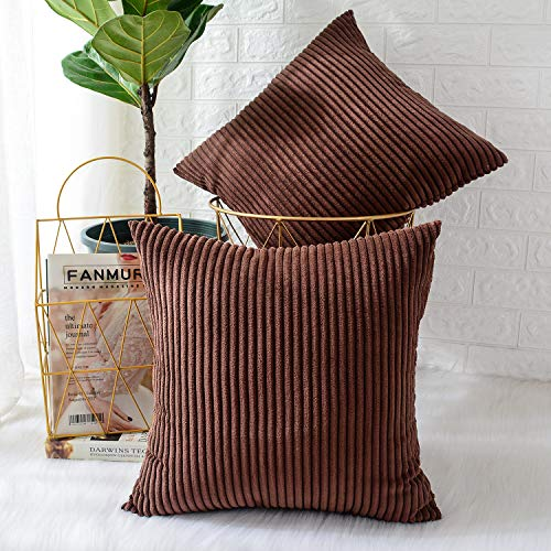 MERNETTE Pack of 2, Corduroy Soft Decorative Square Throw Pillow Cover Cushion Covers Pillowcase, Home Decor Decorations For Sofa Couch Bed Chair 18x18 Inch/45x45 cm (Striped Dark Brown)