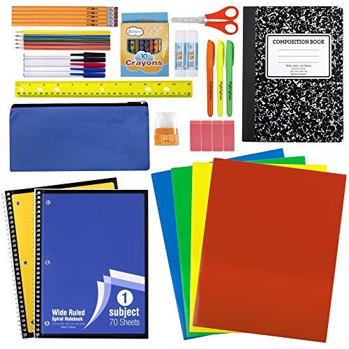 Kit de 45 piezas de suministros escolares grados K-12 – Escolar Essentials incluye carpetas, cuadernos, lápices y mucho más.