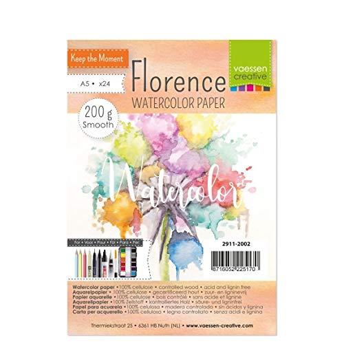 Vaessen Creative 2911-2002 Florence Aquarellpapier A5 in Elfenbein Weiß, aus 200 g/m² Glattem Papier, 24 Blatt für Aquarellmalerei, Handlettering und Brush Lettering