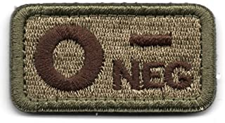 Tactical Blood Type O- Negative NEG Hook and Loop Patch Embroidered Morale Military Badge for Outdoors (Coyote Brown O-)