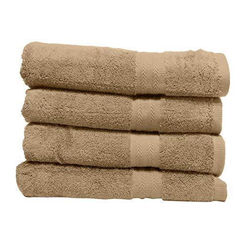 GoodDeal Juego de 4 toallas de calidad Premium 100% algodón 550 g/m² – Toalla ultra suave y suave con borde decorativo (Sand, 100 x 50 cm)