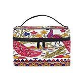 Pixiuxiu - Bolsa de maquillaje, diseño tribal de pavo real, estrella de árbol de pavo real, bolsa personalizada con compartimentos para adolescentes y mujeres
