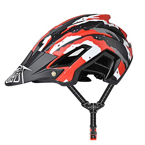Yiesing Casco de Ciclismo, 300g 56-60cm Casco Ligero de Bicicleta de Montaña con Visera Desmontable, Ajuste Ajustable, 15 Vetns MTB Asco para Hombres y Mujeres Adultos, Rojo + Negro …
