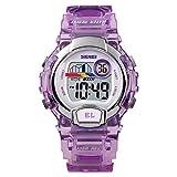 SKMEI Boys/Girls Kids Purple Digital Watch Unique Comfortable Transparent Strap Stopwatch Perfect