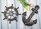 Fangoo 2 Pack 28 CM Steuerrad mit Holz und 33CM Anker Holz Steuerrad mit Seil Nautical Boat Wanddeko Maritime Deko Tür hängen Ornament - 5