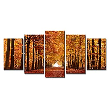 Wieco Art Autumn Forest Giclee Canvas Prints Canvas Wall Art Paintings for Living Room Bedroom Home Office Wall Decorations Modern 5 Piece Stretched and Framed Landscape Trees Pictures Artwork Decor