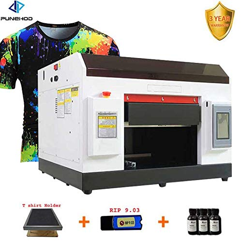 A4 UV Printer, DIY Flatbed/Cylindrical LED Printer,Automatic Printer with Touch Screen for Leather,ID Card,Cell Phone Case,Glass,Metal Surface Printing(with Rotary Mould)
